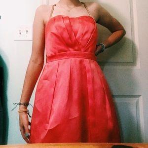 coral silk knee length formal dress